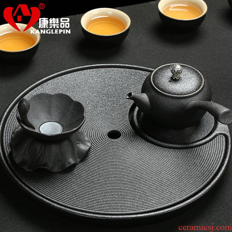 Recreational product interpreta dream, black pottery tea tray was the ellipse ceramic kung fu tea set contracted home drainage type tea table