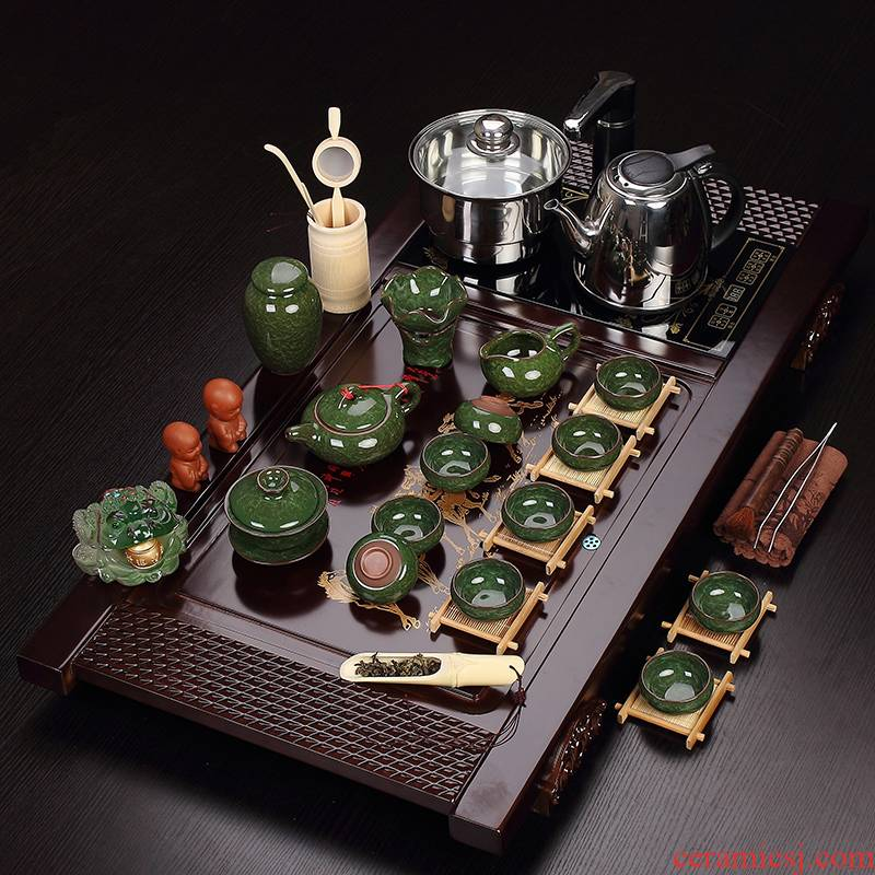 Recreational product kung fu tea tea set suits for the purple ice crack of a complete set of tea set furnace solid wood tea tray was set quickly