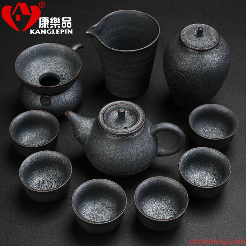 Recreational product office kung fu tea cup set household contracted and I sitting room of a complete set of black ceramic teapot