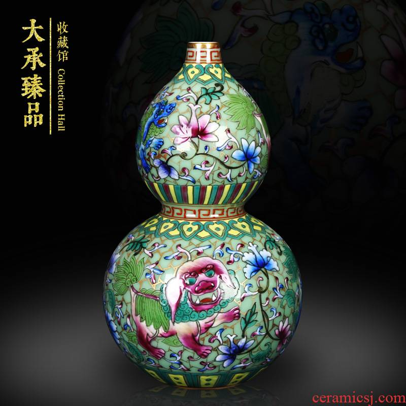 Antique hand - made jingdezhen ceramics enamel see colour green lion auspicious fuels the vase decoration craft collection furnishing articles