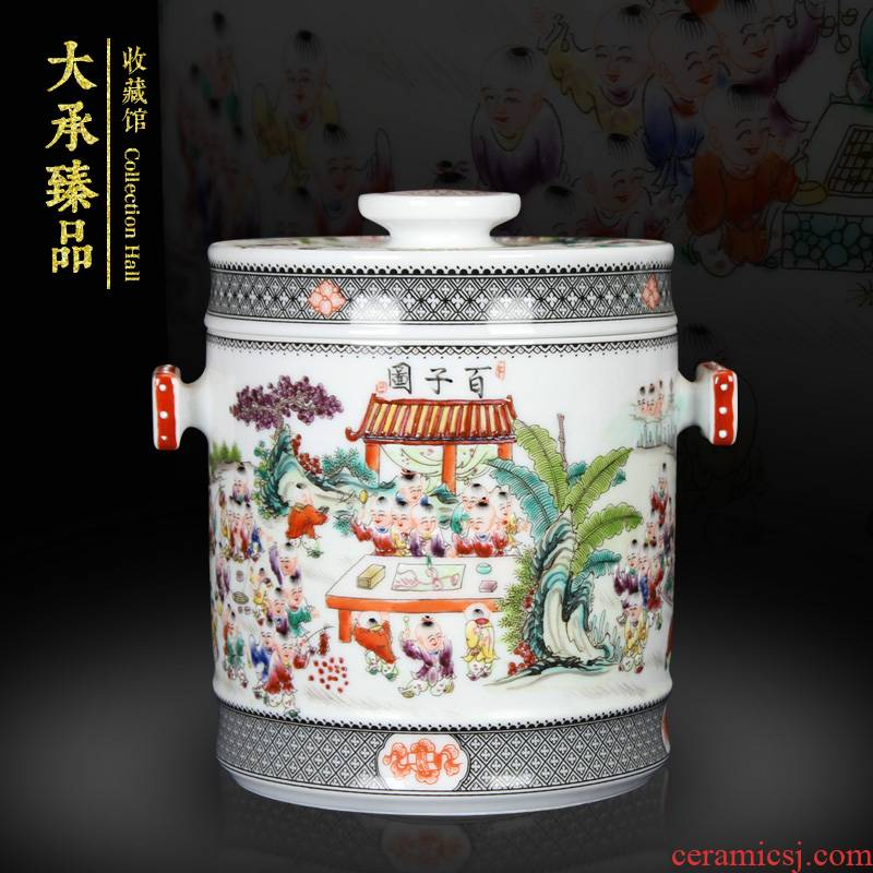 Jingdezhen ceramics antique hand - made pastel the ancient philosophers figure storage tank and tank caddy fixings Chinese handicraft furnishing articles