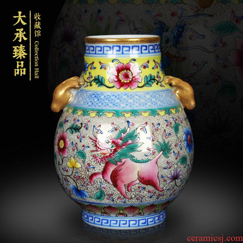 Jingdezhen ceramics colored enamel vase as rare as gold ears deer head statute of classical Chinese style home furnishing articles