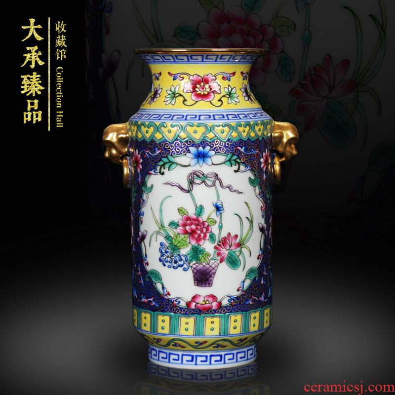 Jingdezhen ceramics colored enamel double head gold blue flower vase household altar collection handicraft furnishing articles