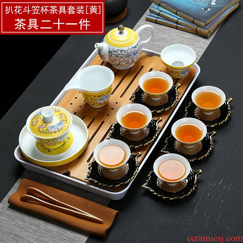 Full color blue and white porcelain and household porcelain kung fu tea tea tray was suit portable travel teapot tea, the tea is taking