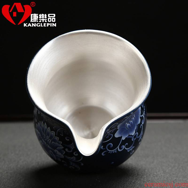 Recreational product ceramic fair tasted silver gilding silver cup 999 silver kung fu tea cup tea, more large heat