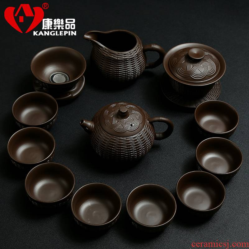 Recreational tea with a suit of household bamboo has violet arenaceous kung fu tea tea cup lid to use the whole office