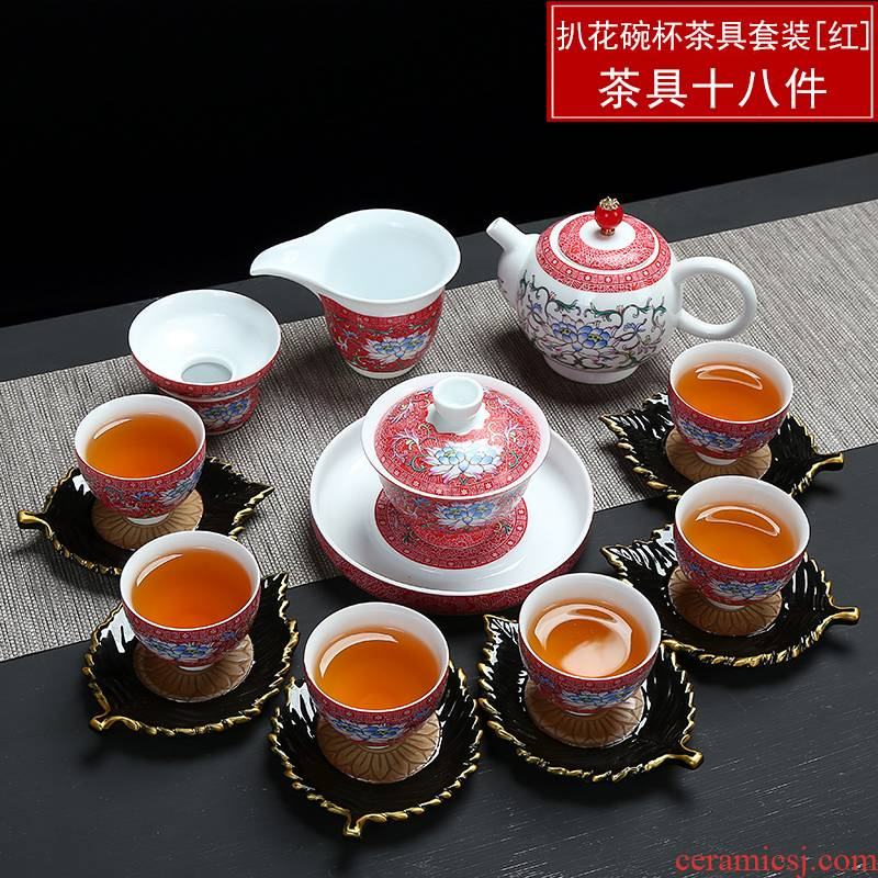 Full color blue and white porcelain, grilled ceramic tea set sample tea cup hand - made of blue and white porcelain tea cups small cup bowl master CPU