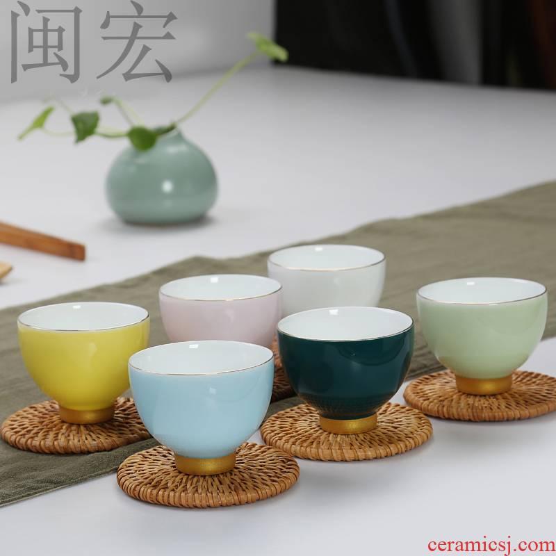 Rainbow of colorful ceramics kung fu tea set the see colour sample tea cup masters cup tea cups of individual single CPU