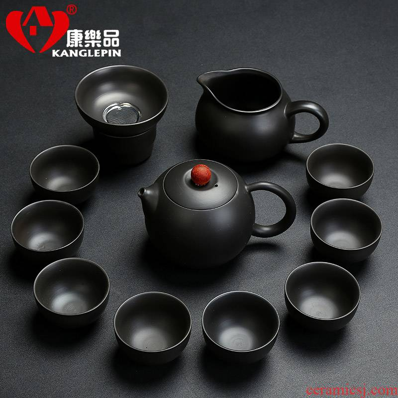 Recreational product yixing purple sand kung fu tea set domestic ore black mud tureen tea cup contracted a whole set of the teapot