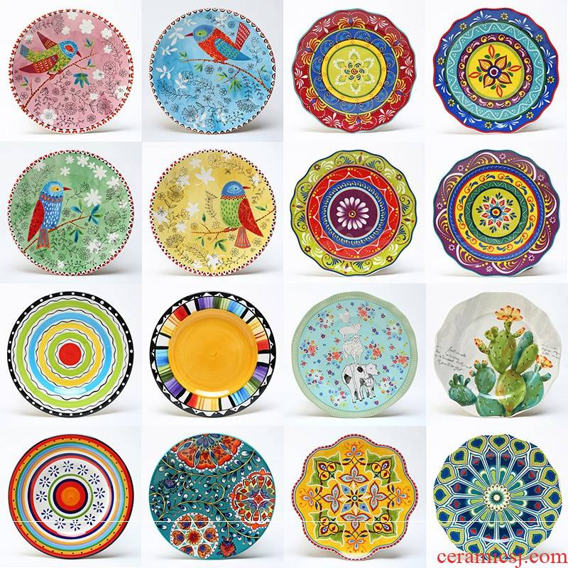 """8 """"move hand - made tableware western - style food dish creative ceramic plates home outfit combination plate round steak plate"""