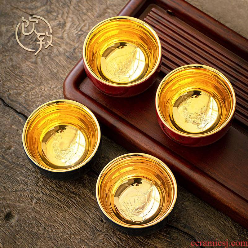 Ultimately responds to the gold cup by hand master cup ceramic tea single CPU kung fu tea sample tea cup large cups