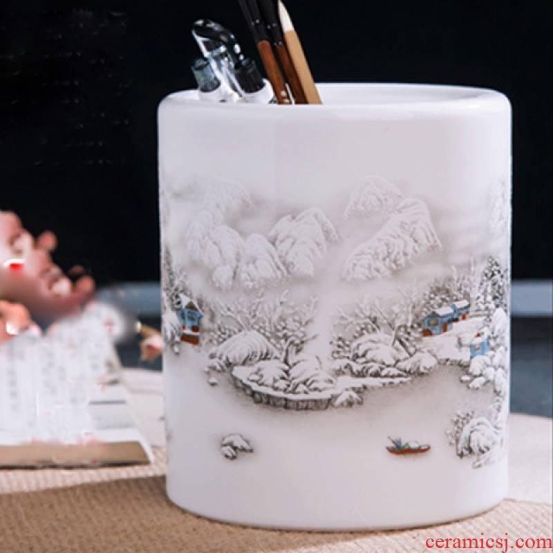 Japanese and wind ceramic wool brush pot office desktop makeup brush remote receive flower arranging barrels