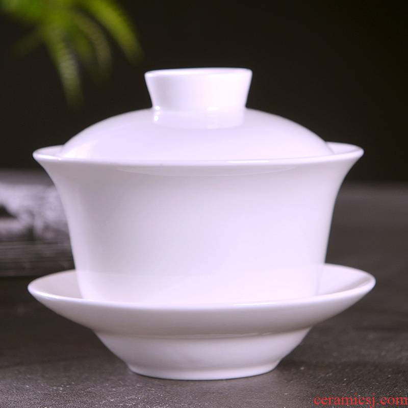 Jingdezhen ceramic only a single pure white ipads China tea bowl three tureen tea cup with lid household kung fu tea set