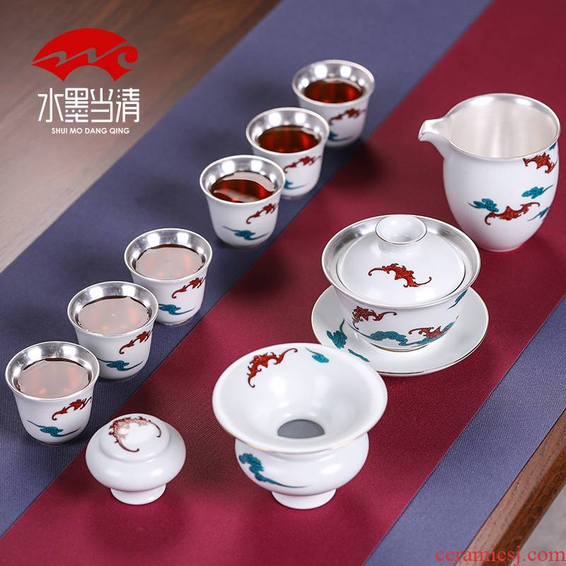 Jingdezhen tasted silver kung fu tea set pack of a complete set of silver gilding contracted and I home sitting room your up ceramic tureen tea cups