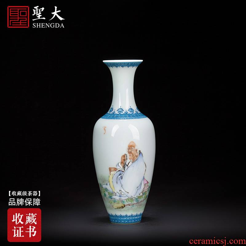 Santa jingdezhen ceramic vases, flower implement characters by hand antique wang long eyebrow powder enamel lohan willow bottles of furnishing articles