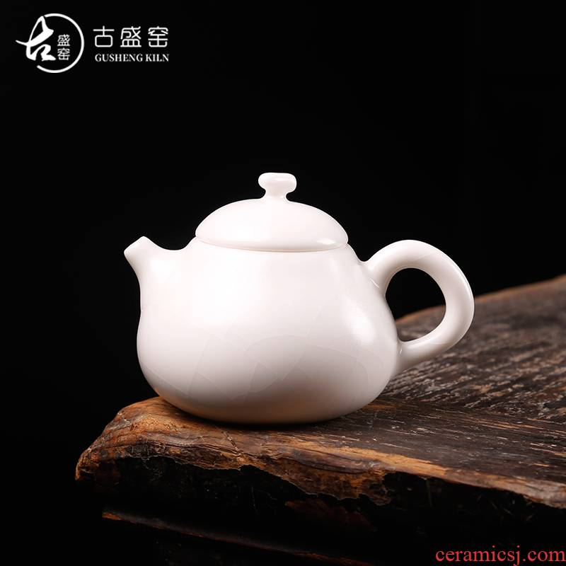 The ancient ivory white sheng up your up porcelain teapot of Confucianism is The teapot on single pot of ceramic kung fu tea set little teapot