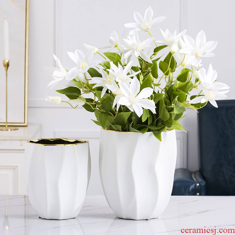 Nordic light key-2 luxury furnishing articles of modern wind vase creative decorations hydroponic white ceramic exposure flower arrangement contracted sitting room