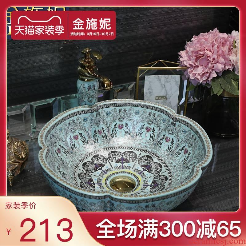 Petals on the ceramic basin to household toilet lavabo bathroom art creative basin sinks restoring ancient ways