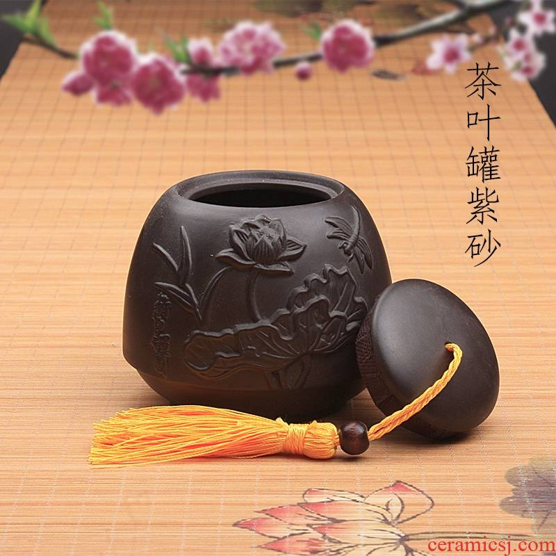 Qiao mu creative move violet arenaceous caddy fixings to suit small ceramic seal pot of pu 'er tea to wake tea store receives the ritual