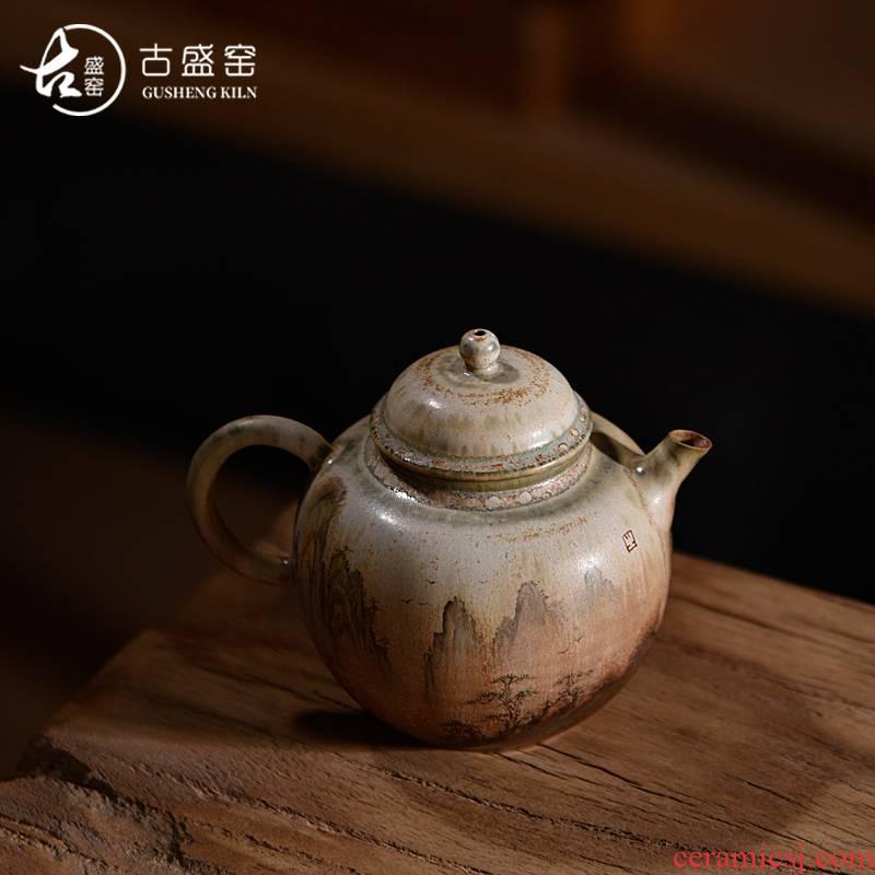 Ancient sheng up ceramic hand - made firewood teapot volunteers wild mountain kettle pure manual Japanese literati maintain household teapot