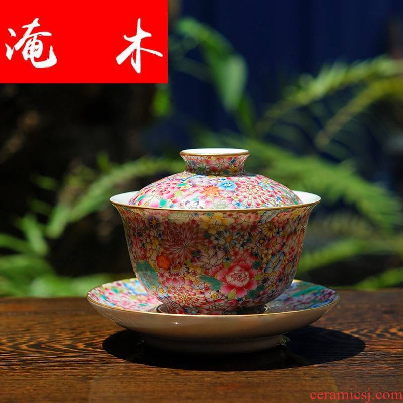 Submerged wood jingdezhen hand - made famille rose flower covered bowl bowl kung fu tea set three antique porcelain bowl