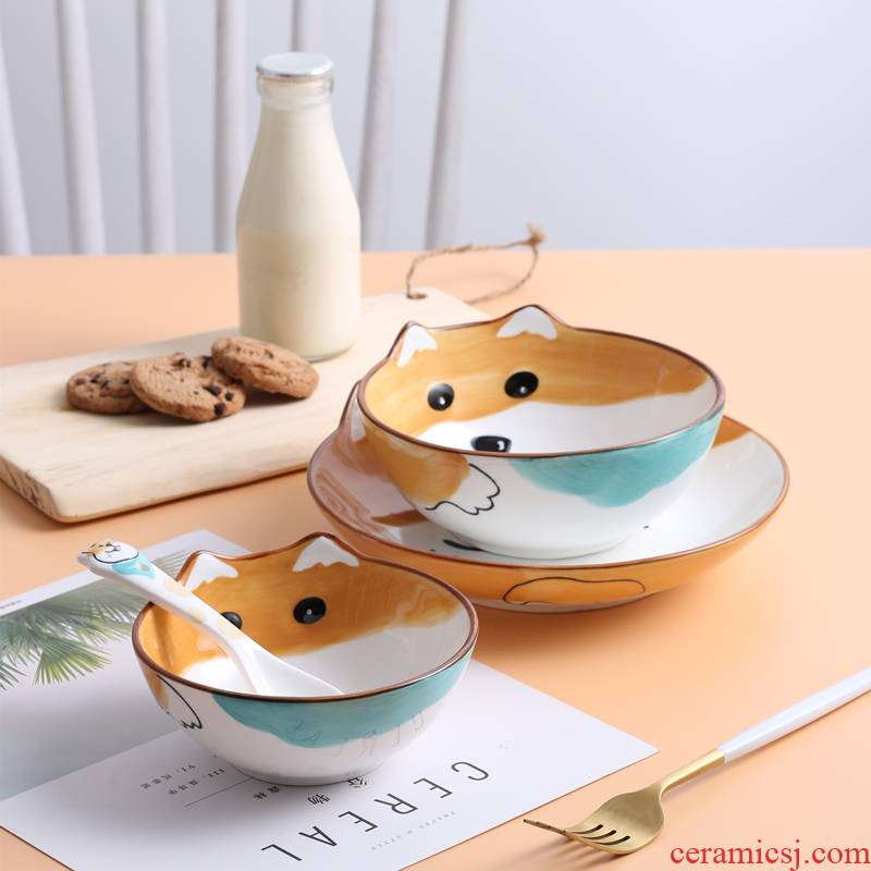 Cartoon creative move ceramic bowl home baby, lovely children tableware hand - made shiba inu huskies dishes spoons