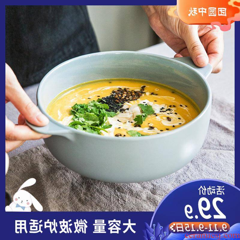 The kitchen m letters jia web celebrity ins creative ceramic bowl large anti hot ears bowl of Japanese household microwave oven hotel