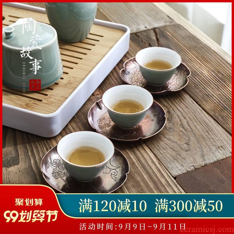 Ceramic story manual copper hammer eye grain cup mat mat kung fu tea saucer Chinese zen tea accessories