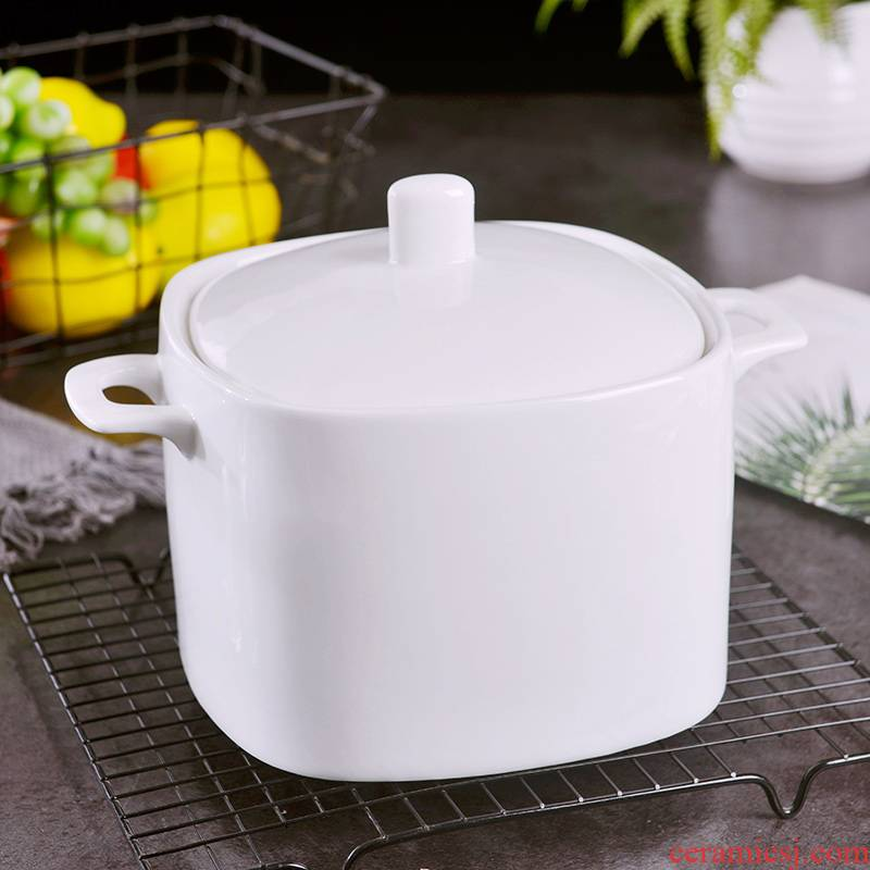 Jingdezhen household pure white ipads porcelain soup pot large soup bowl with cover hotel ceramic ears is not large soup bowl