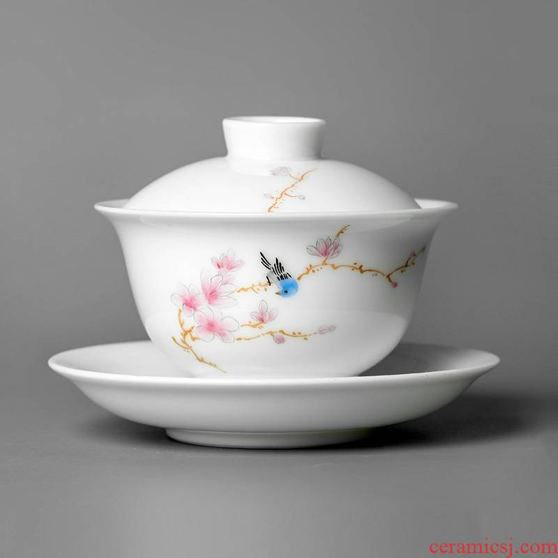 Jingdezhen hand - made three tureen teacup only protect hot large kung fu bowl is pure manual yulan flower, white porcelain tea set