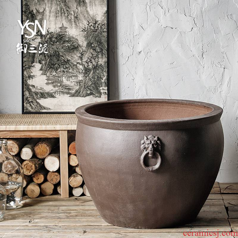 Royal three high temperature coarse clay pottery ancient mud tank hotel courtyard outside the yard water lily ceramic cylinder aquarium tank