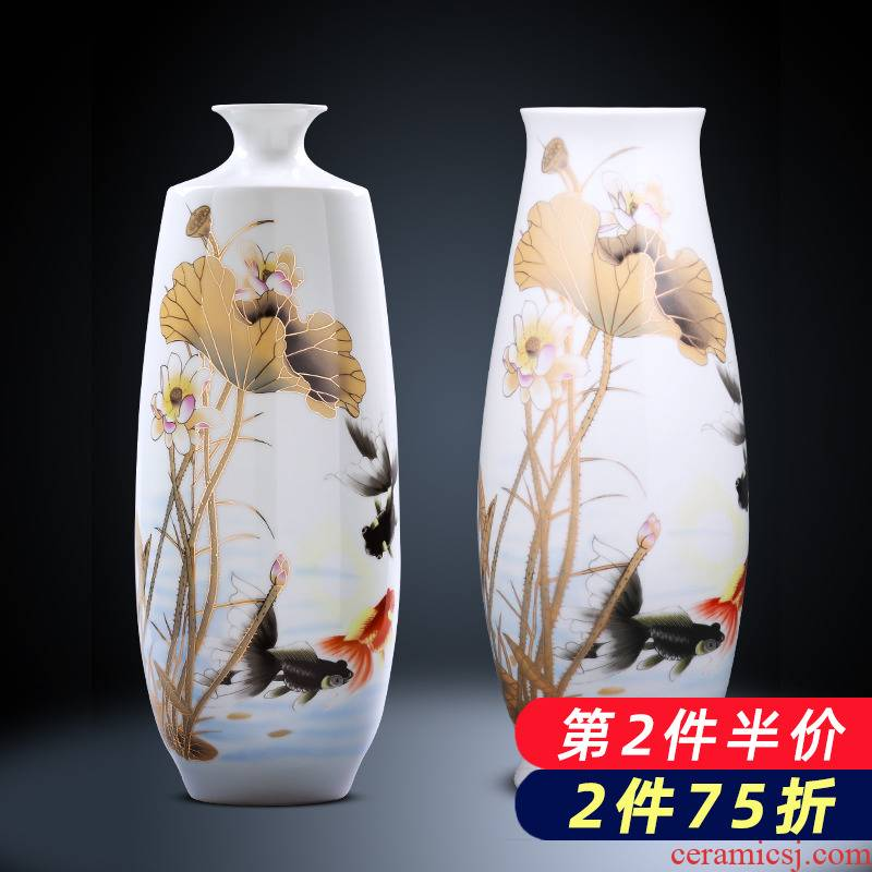 Jingdezhen porcelain ceramic large pastel figure painting of flowers and vase flower arranging furnishing articles sitting room of Chinese style household ornaments