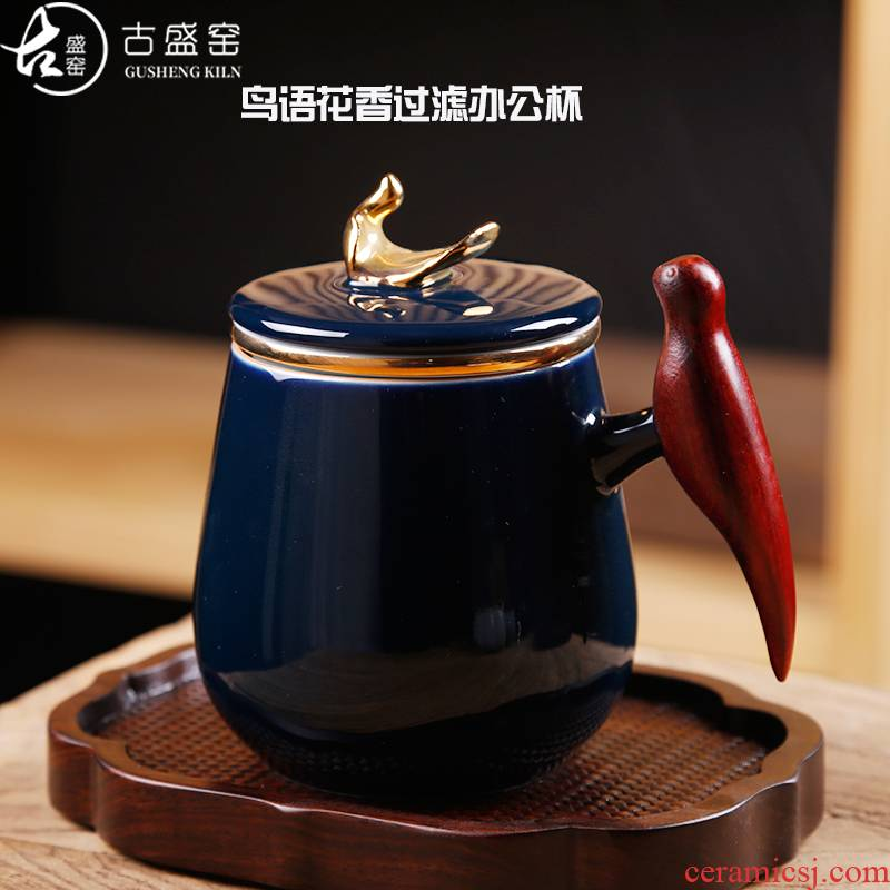 Ancient sheng up ceramic filter cups with wooden handle office separation of tea cup tea cup keller charactizing a fine spring day
