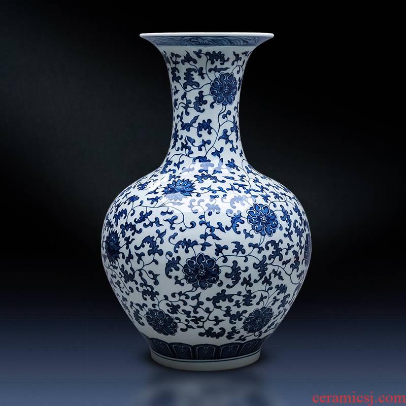 Jingdezhen ceramics archaize large blue and white porcelain vase landed home sitting room TV ark adornment restoring ancient ways furnishing articles