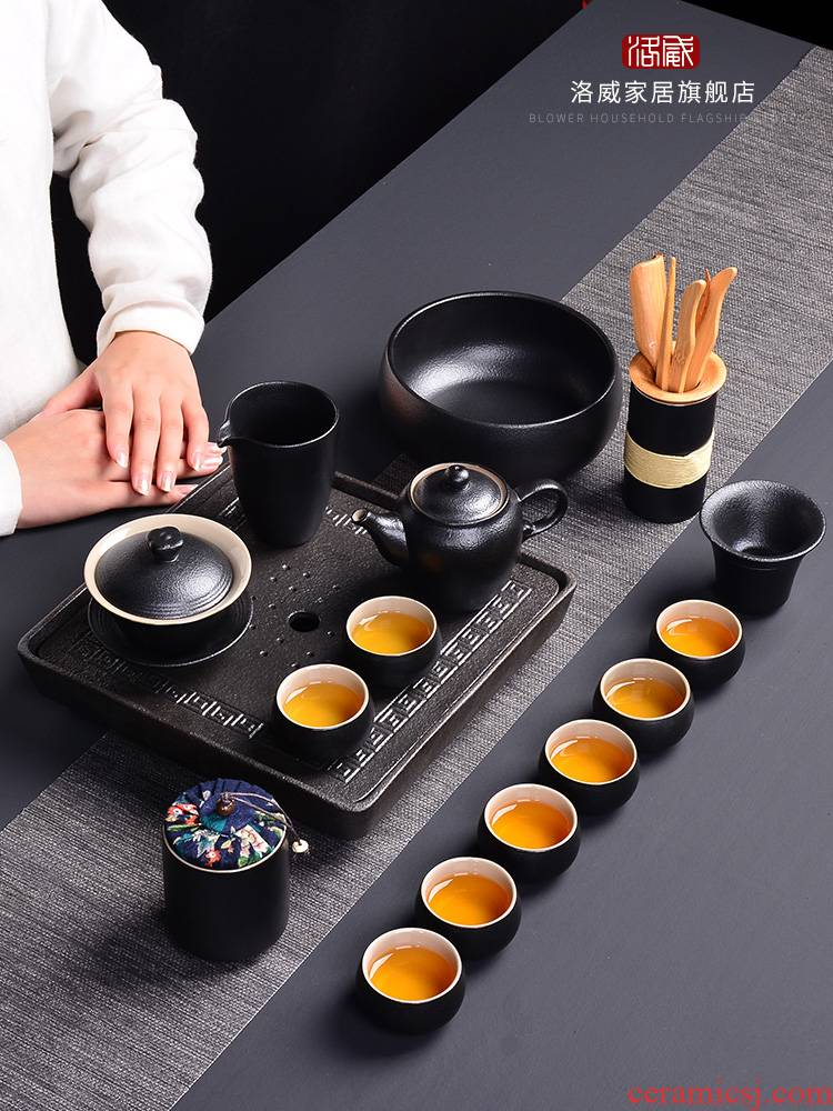 Coarse touch the floor clearance 】 【 jingdezhen ceramic tea set suit household contracted 6 cups of a complete set of the teapot tea tray