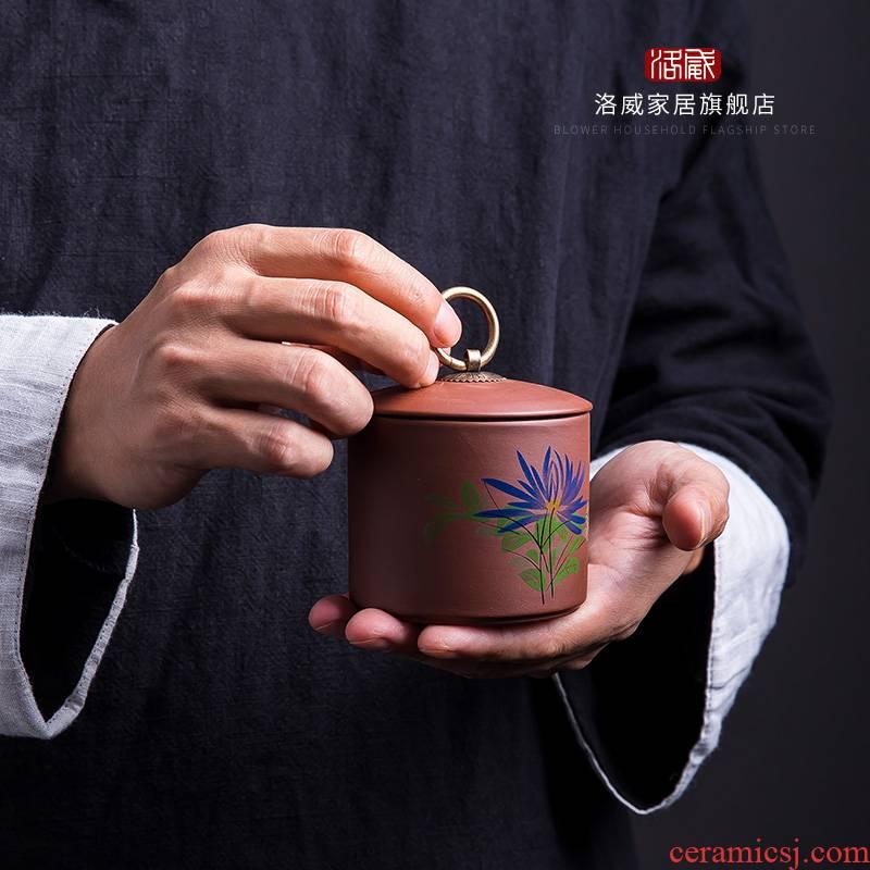 Violet arenaceous caddy fixings household jingdezhen ceramic tea set storage jar tea storage tank mini small seal pot
