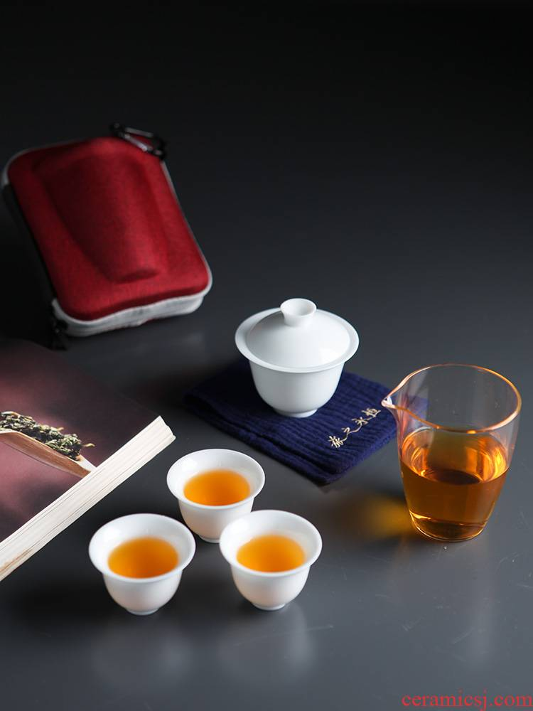 Travel tea set suit portable package a pot of two glass ceramic crack cup four small is suing tourism kung fu tea set