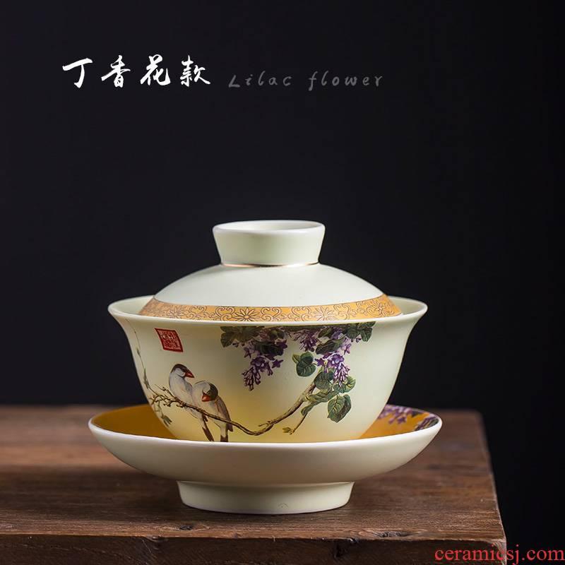 Tureen jingdezhen ceramic cups white porcelain bowl with large kung fu tea tea bowl three use hand grasp pot