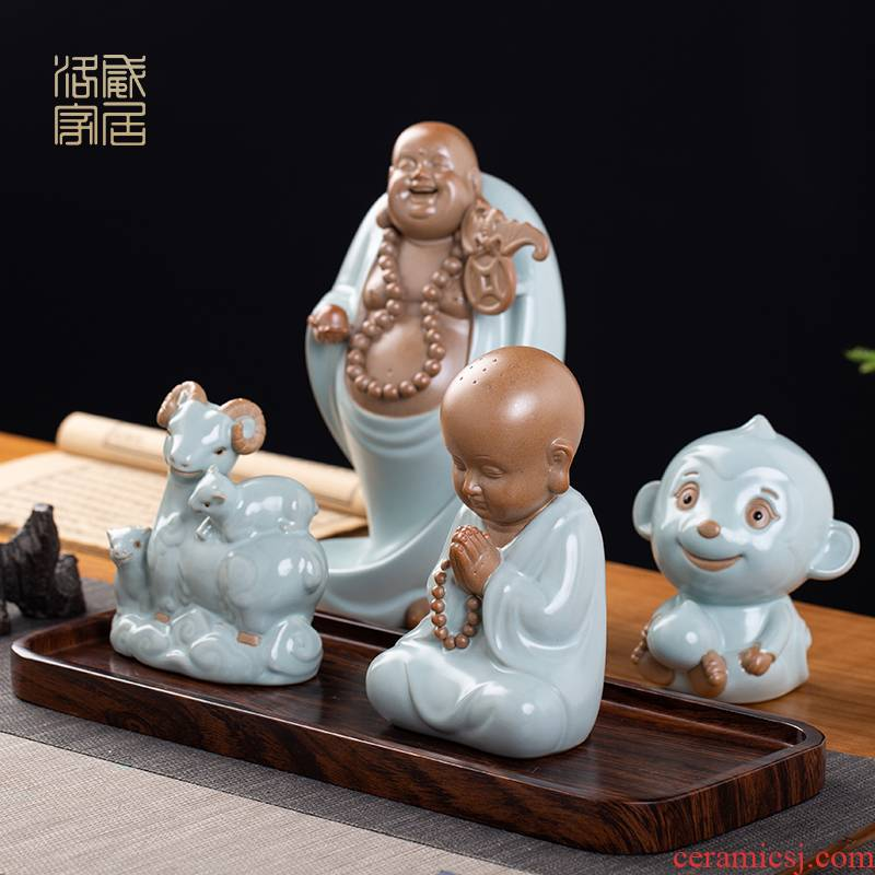 Your up furnishing articles pet boutique tea can keep ceramic tea set tea table decoration creative play, the young monk zen tea tea