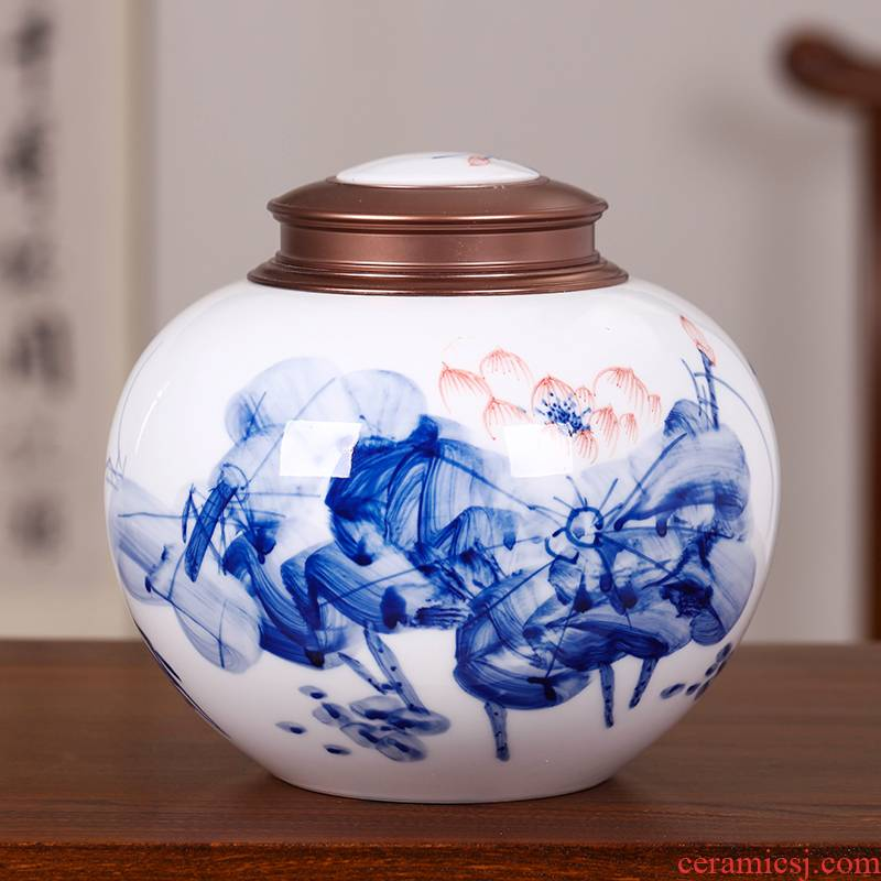Blue and white porcelain tea set ceramic checking lotus tea pot seal moisture large POTS with gift box. A kilo
