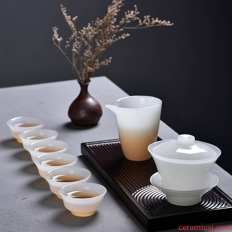 The ancient three new six white jade porcelain kung fu sheng up with white porcelain bowl with jade fish six cup just a cup of tea set