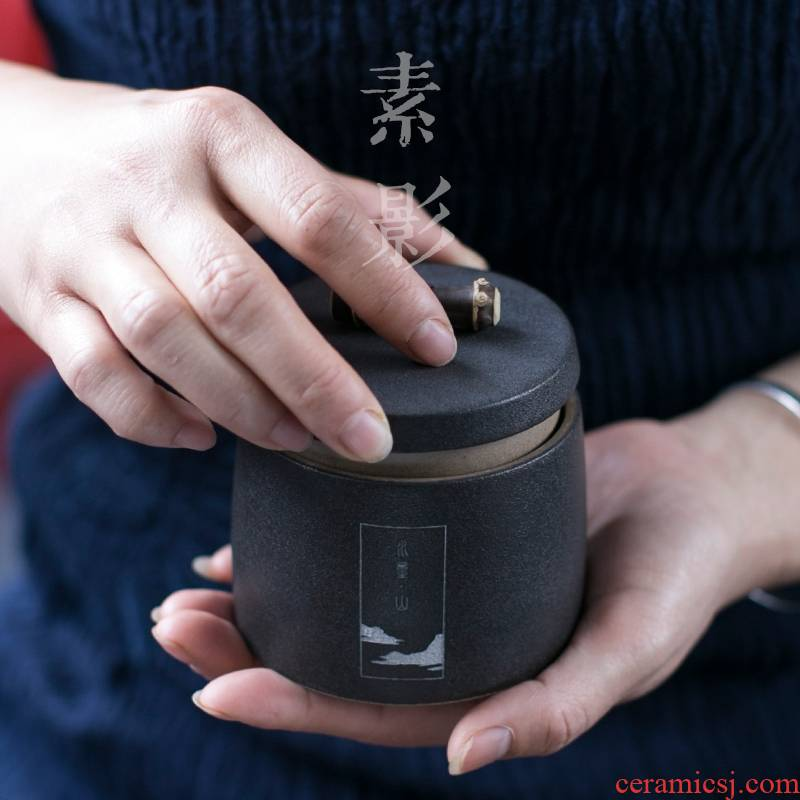 Longed for restoring ancient ways opportunely contracted coarse ceramic ink in jiangnan mountain tea caddy fixings warehouse small manual storage jar ideas
