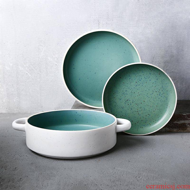 Pull director Nordic green plate ceramic plate creative household food dish ears soup plate salad dinner plate