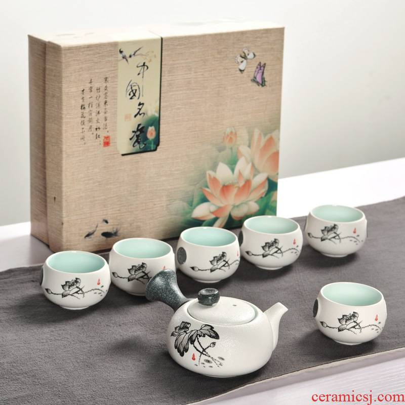 Ceramics kung fu tea sets snowflake enamel teapot teacup with gift bag of a complete set of tea bag in the mail