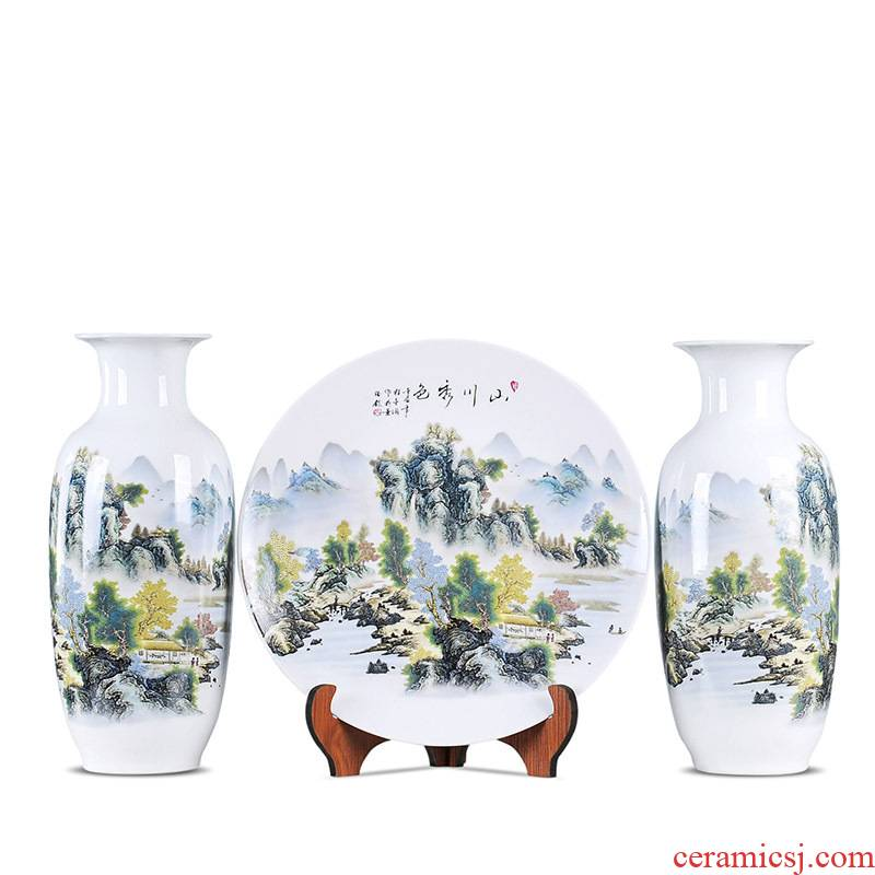 Large three suit household vase jingdezhen ceramic sitting room place simulation mesa of dried flower vase restoring ancient ways
