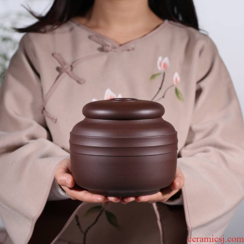Shadow enjoy high - quality goods violet arenaceous caddy fixings large pu - erh tea can wake receives ceramic seal storage tanks undressed ore JH purple clay