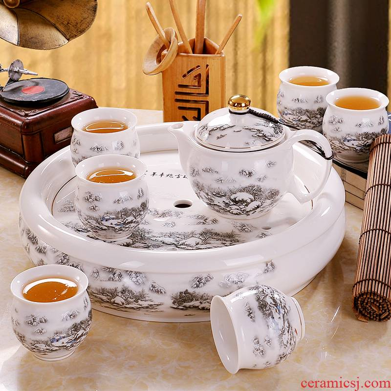 Jingdezhen ceramic kung fu tea set home tea tea teapot teacup tea tray with the whole office