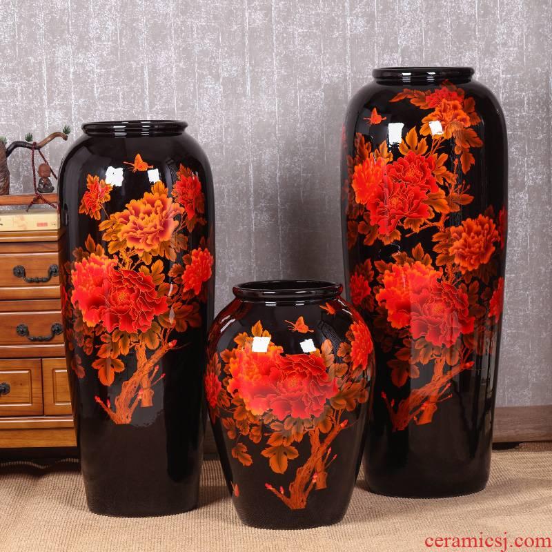Jingdezhen ceramic crystal glaze landing large vases, flower arranging, home sitting room adornment hotel opening furnishing articles