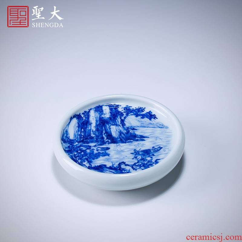 Santa mooring boat tougue buy blue and white pine just hand - made ceramic cover all hand jingdezhen kung fu tea accessories