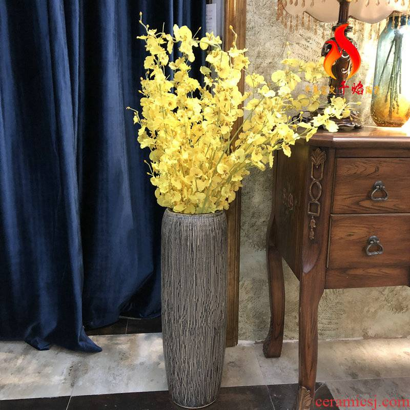 Jingdezhen ceramics vase landing modern north European style living room decoration furnishing articles lucky bamboo contracted the flower arranging flowers